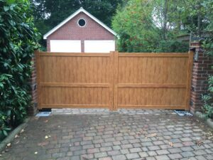 Electric wooden gates on a residential property